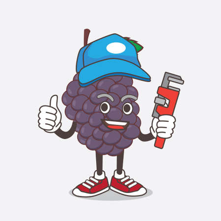 An illustration of Mulberry Fruit cartoon mascot character as happy plumber Çizim
