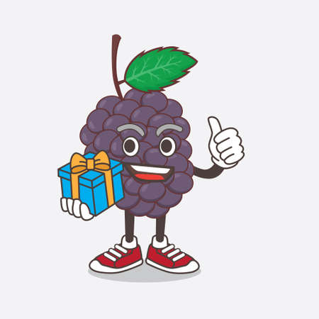 An illustration of Mulberry Fruit cartoon mascot character with gift Çizim