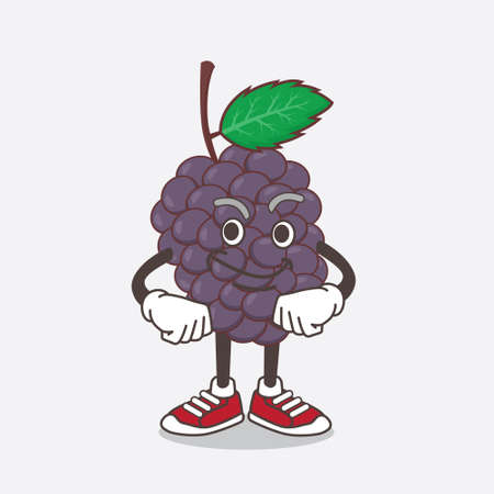 An illustration of Mulberry Fruit cartoon mascot character with smirking face