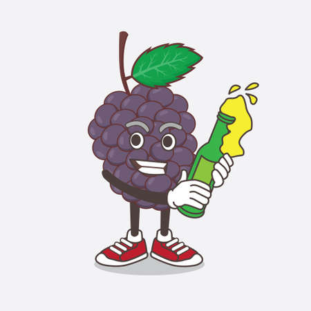 An illustration of Mulberry Fruit cartoon mascot character holding a bottle of beer