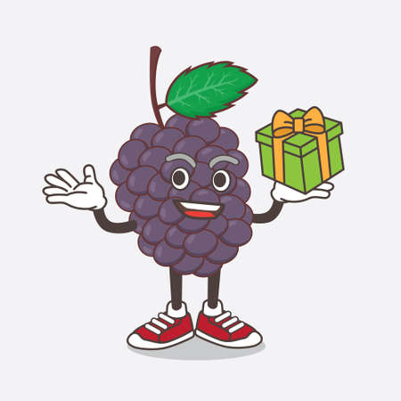 An illustration of Mulberry Fruit cartoon mascot character with a box of gift