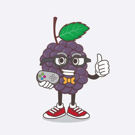 An illustration of Mulberry Fruit cartoon mascot character as attractive gamer