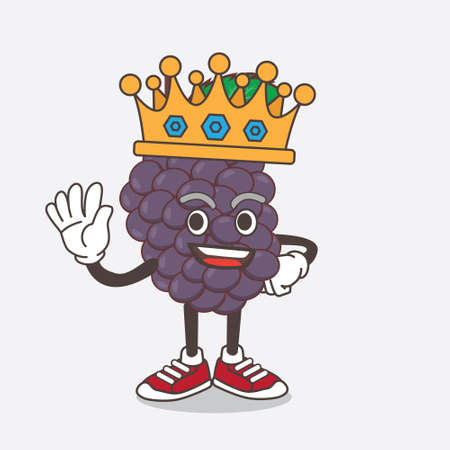 An illustration of Mulberry Fruit cartoon mascot character stylized of King on cartoon mascot design