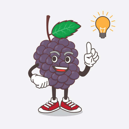 An illustration of Mulberry Fruit cartoon mascot character get an idea Çizim