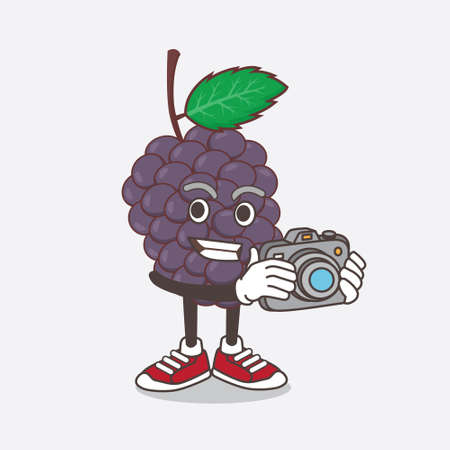 An illustration of Mulberry Fruit cartoon mascot character as photographer in action with a camera