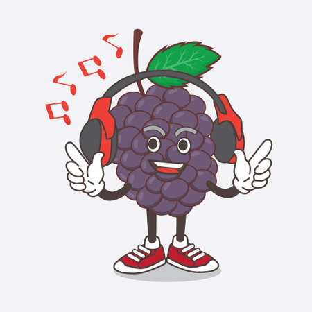 An illustration of Mulberry Fruit cartoon mascot character Listening music on a headset