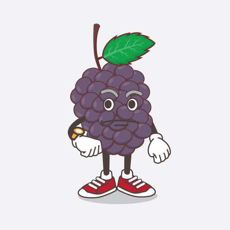An illustration of Mulberry Fruit cartoon mascot character on a waiting gesture Çizim