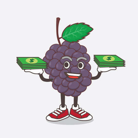An illustration of Mulberry Fruit cartoon mascot character with money on hands Çizim