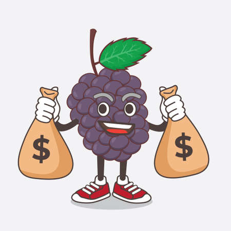 An illustration of Mulberry Fruit cartoon mascot character holding money bags