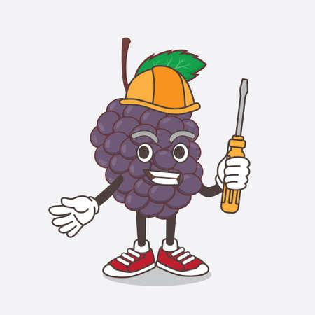 An illustration of Mulberry Fruit cartoon mascot character as smart technician