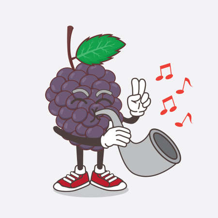 An illustration of Mulberry Fruit cartoon mascot character playing music with trumpet