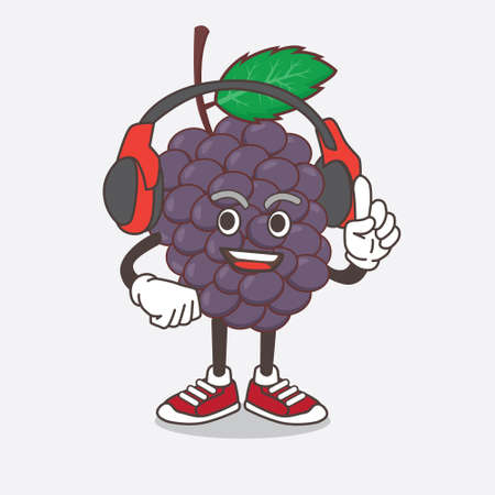 An illustration of Mulberry Fruit cartoon mascot character speaking on a headphone