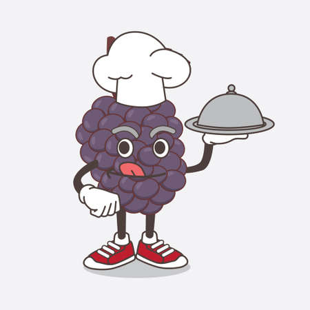 An illustration of Mulberry Fruit cartoon mascot character as a Chef with food on tray ready to serve Çizim