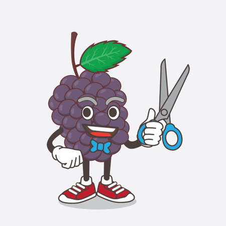 An illustration of Mulberry Fruit cartoon mascot character as smiling barber with scissors on hand
