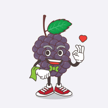 An illustration of Mulberry Fruit cartoon mascot character working as a Waiter