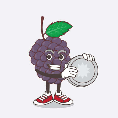An illustration of Mulberry Fruit cartoon mascot character holding a silver coin medal