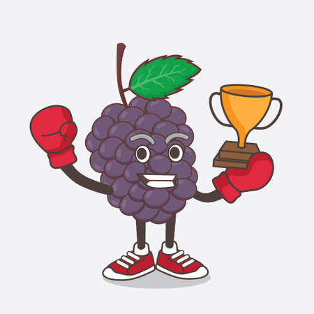 An illustration of Mulberry Fruit cartoon mascot character as Boxing winner of arcade game machine Çizim