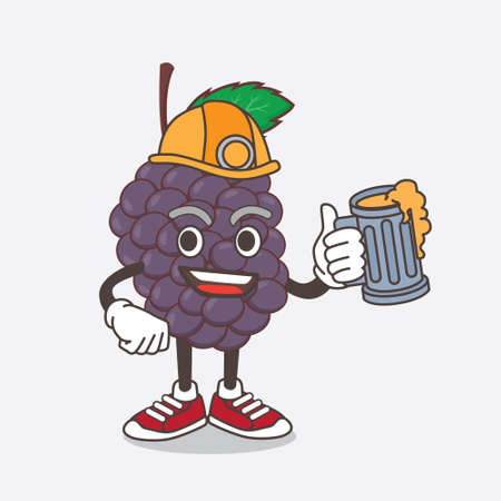 An illustration of Mulberry Fruit cartoon mascot character holding a glass of beer
