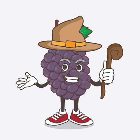An illustration of Mulberry Fruit cartoon mascot character as a witch wearing hat and staff