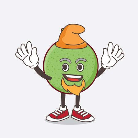 An illustration of Melon Fruit cartoon mascot character performed as an Elf on the stage 向量圖像