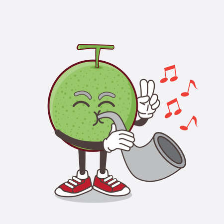 An illustration of Melon Fruit cartoon mascot character playing music with trumpet