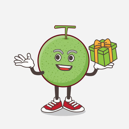 An illustration of Melon Fruit cartoon mascot character with a box of gift Ilustração
