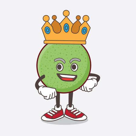 An illustration of Melon Fruit cartoon mascot character stylized of King on cartoon mascot design Illusztráció