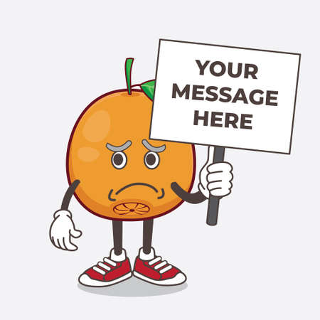 An illustration of Navel Orange cartoon mascot character with cheerless face and holding a message board