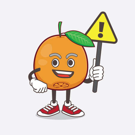 An illustration of Navel Orange cartoon mascot character rise up a warning sign