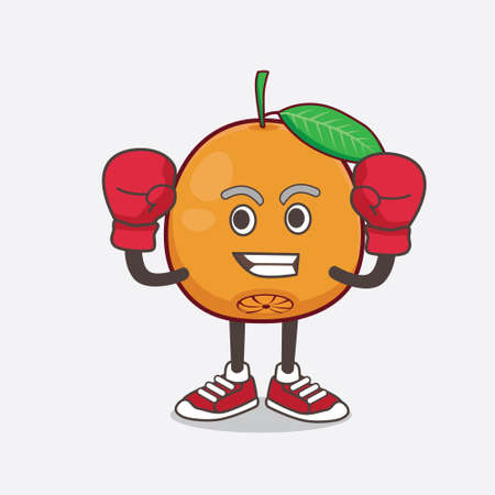An illustration of Navel Orange cartoon mascot character in sporty boxing style