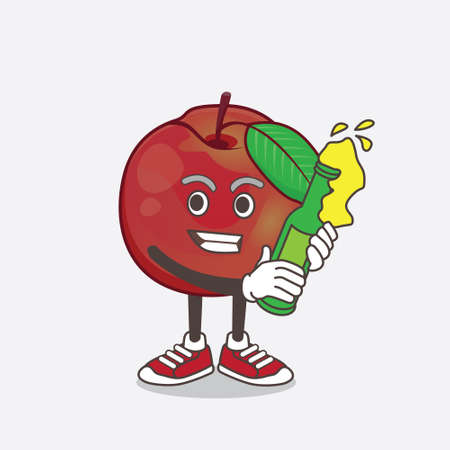 An illustration of Nectarine Fruit cartoon mascot character holding a bottle of beer