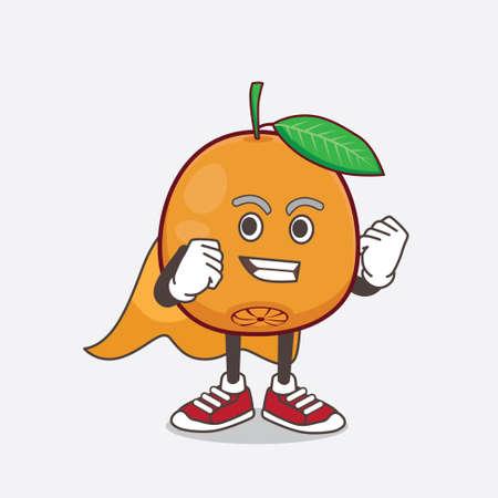 An illustration of Navel Orange cartoon mascot character dressed as a Super hero