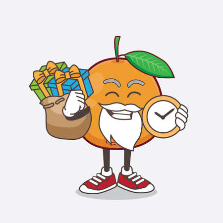 An illustration of Navel Orange cartoon mascot character having a sack of gifts
