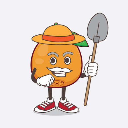 An illustration of Navel Orange cartoon mascot character with hat and farmer tools
