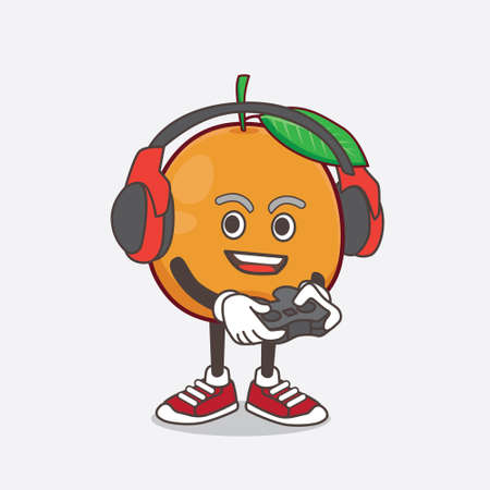 An illustration of Navel Orange cartoon mascot character play a game with headphone and controller Vettoriali