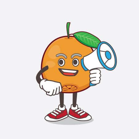 An illustration of Navel Orange cartoon mascot character holding a megaphone