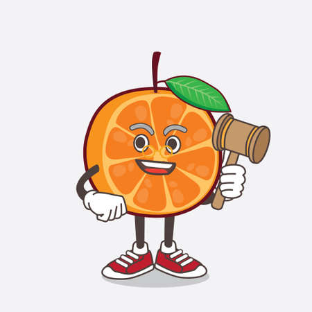 An illustration of Orange Fruit cartoon mascot character as wise judge with hammer