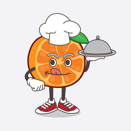 An illustration of Orange Fruit cartoon mascot character as a Chef with food on tray ready to serve Ilustrace