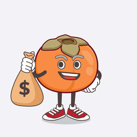 An illustration of Persimmon Fruit cartoon mascot character holding money bags