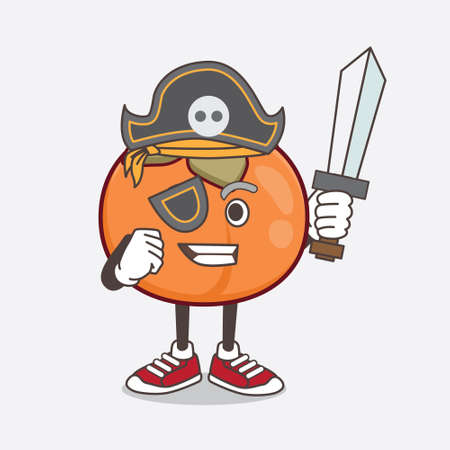 An illustration of Persimmon Fruit cartoon mascot character in pirate style and wearing hat and sword Stok Fotoğraf - 147672340