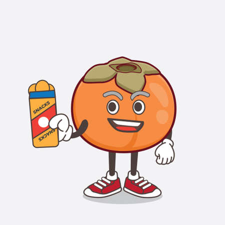 An illustration of Persimmon Fruit cartoon mascot character giving snacks