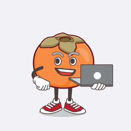 An illustration of Persimmon Fruit cartoon mascot character working with laptop