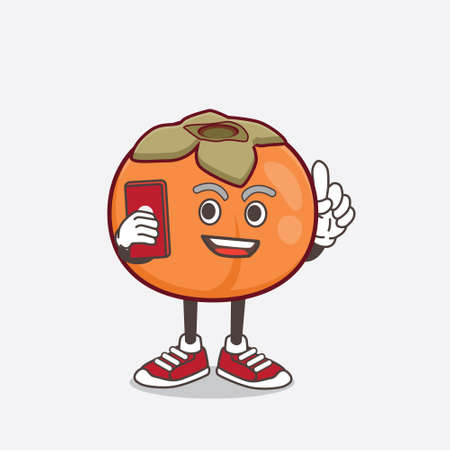 An illustration of Persimmon Fruit cartoon mascot character speaking on the phone