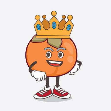 An illustration of Persimmon Fruit cartoon mascot character stylized of King on cartoon mascot design 일러스트