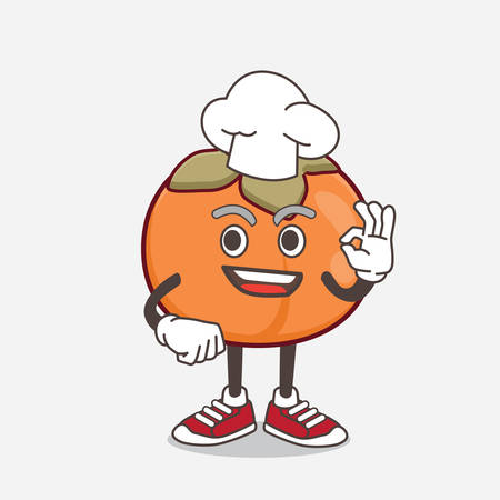 An illustration of Persimmon Fruit cartoon mascot character in a chef dress and white hat