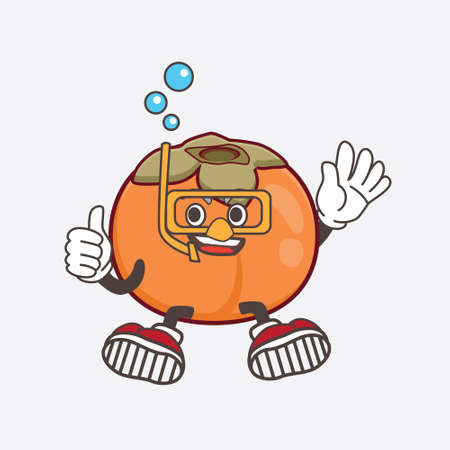 An illustration of Persimmon Fruit cartoon mascot character wearing Diving gears