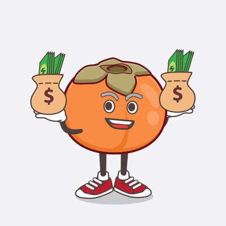 An illustration of Persimmon Fruit cartoon mascot character with money on hands
