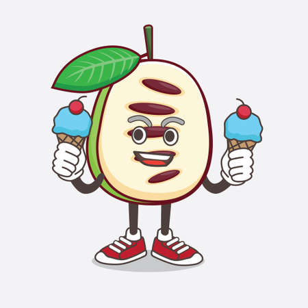 An illustration of Pawpaw Fruit cartoon mascot character wearing Diving gears