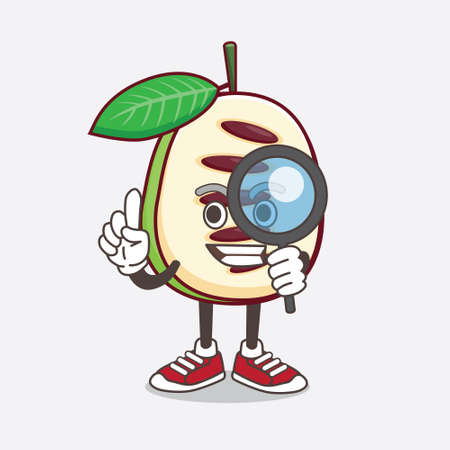 An illustration of Pawpaw Fruit cartoon mascot character as Detective design