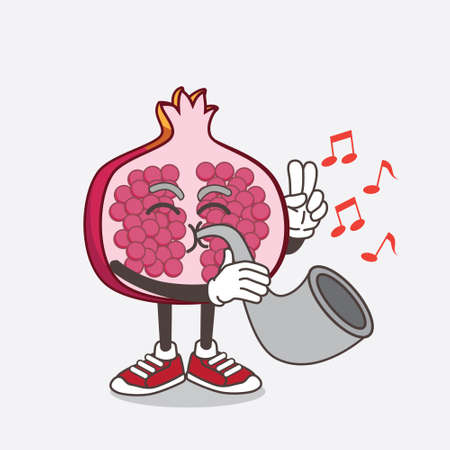 An illustration of Pomegranate Fruit cartoon mascot character playing music with trumpet